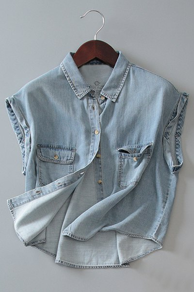 Chic Shirt Collar Sleeveless  Bleach Wash Front Pockets Design Women's Denim Shirt