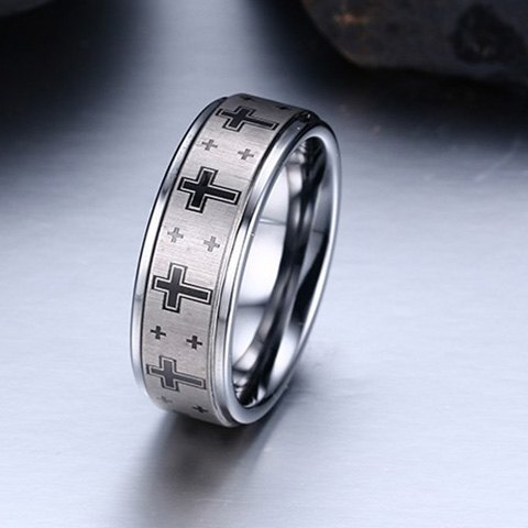 Trendy Cross Print Tungsten Carbide Ring For Men