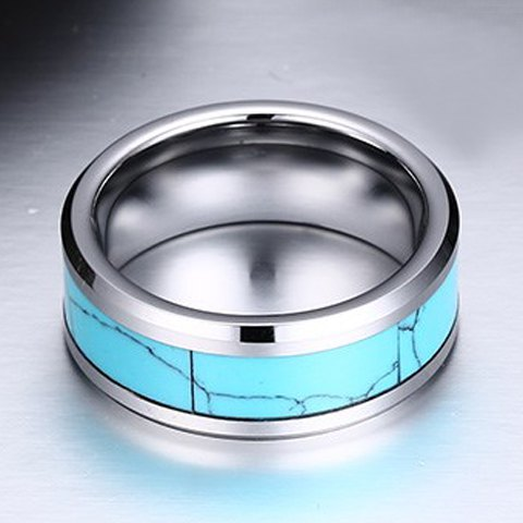 Trendy Faux Turquoise Tungsten Carbide Ring For Men - AZURE ONE-SIZE