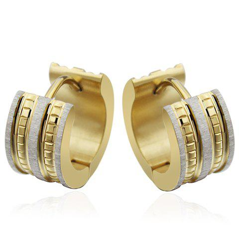Pair of Round Dull Polish Hoop Earrings - GOLDEN