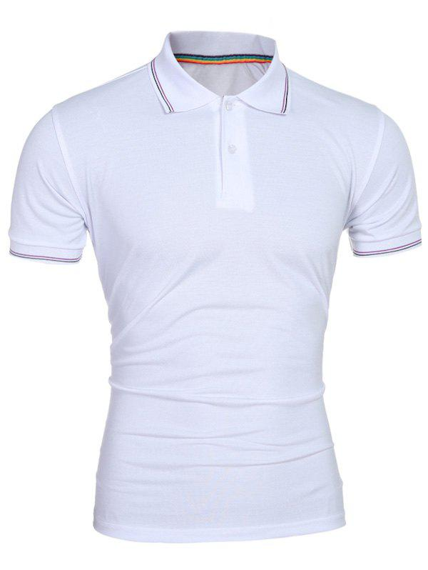 Collier Laconic Turn-down Colorful Stripes Men  's Polo manches courtes T-shirt - Blanc L