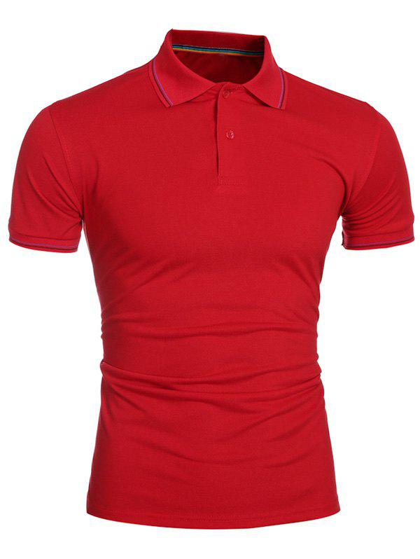 Laconic Turn-down Collar Colorful Stripes Men's Short Sleeves Polo T-Shirt - RED M