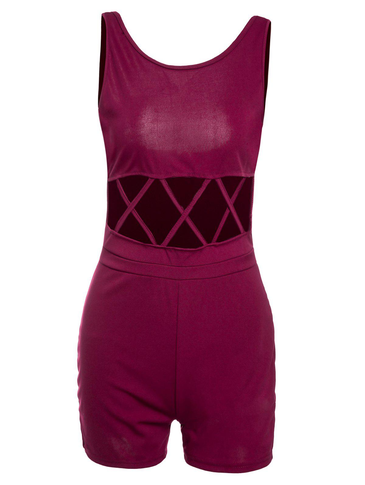 Alluring Hollow Out Scoop Neck Sleeveless Women's Romper - WINE RED M