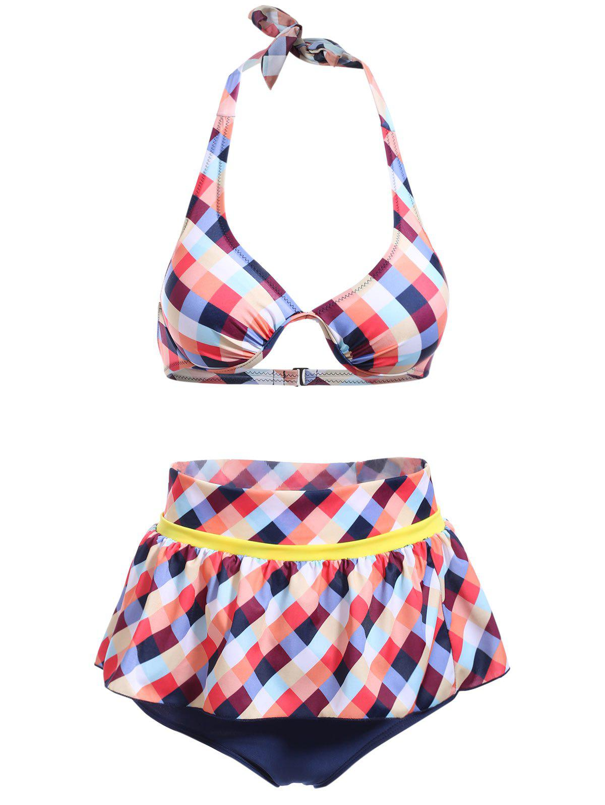 Cute Halter Plaid Print Ruffles Culotte Bikini Set For Women - ORANGE M