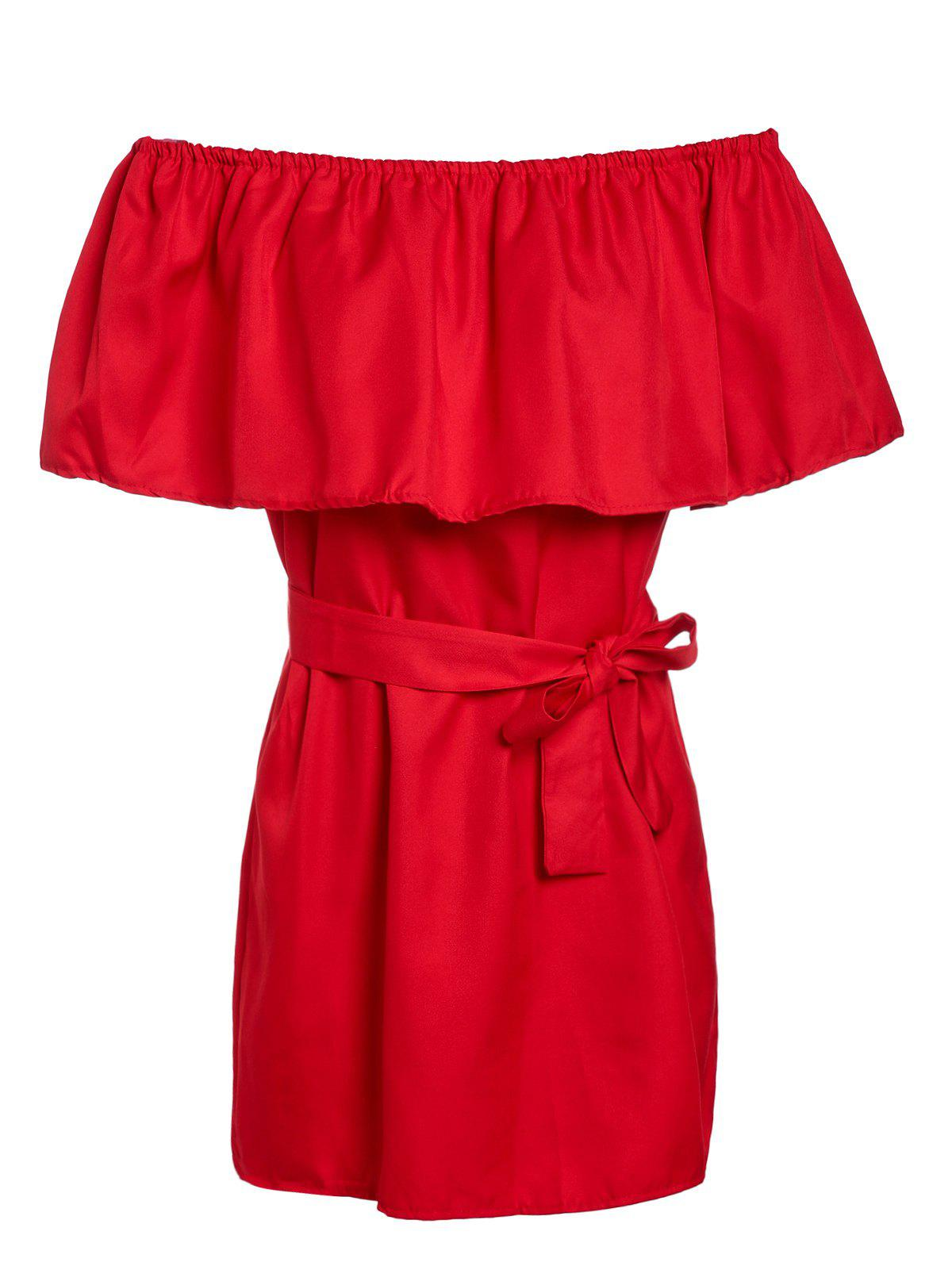 Mini Flounce Off The Shoulder Dress - RED ONE SIZE(FIT SIZE XS TO M)