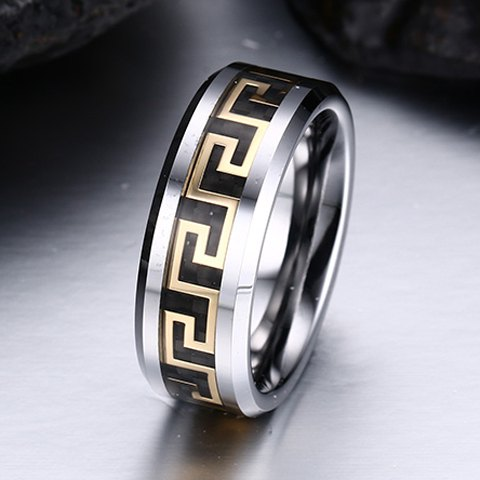 Trendy The Great Wall Print Tungsten Carbide Ring For Men
