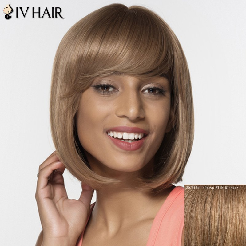 Women's Fashion Bobo Style Straight Human Hair Neat Bang Wig - BROWN/BLONDE