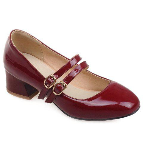 Mary Janes Chunky Heel and Square Toe Design Women's Pumps - WINE RED 38