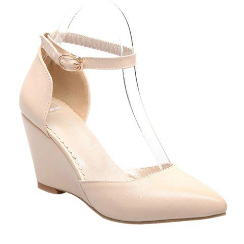 Fashionable Pointed Toe and Solid Colour Design Women's Wedge Shoes - OFF WHITE 34