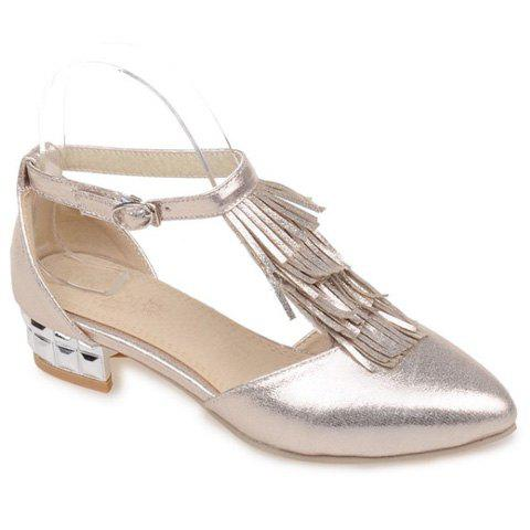 Fashion T-Strap and Fringe Design Women's Flat Shoes - GOLDEN 39