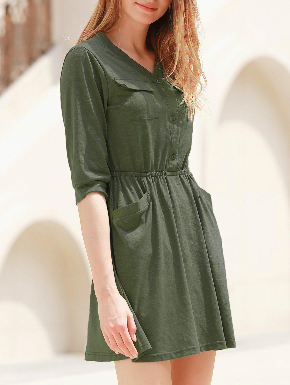 Elegant Solid Color V-Neck 3/4 Sleeve High Waist Dress For Women - ARMY GREEN S