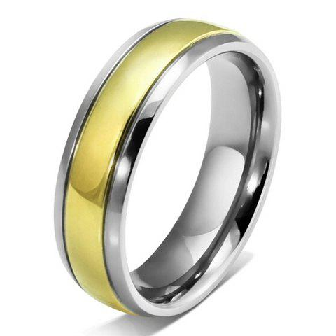 Trendy Silver Edge Gold Titanium Ring For Men - GOLDEN ONE-SIZE