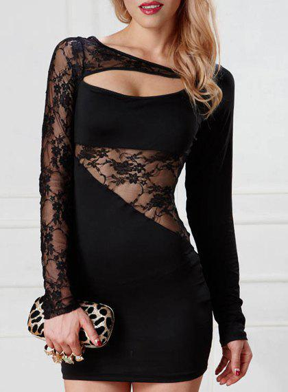 Trendy Long Sleeves Lace Splice Hollow Out Women's Dress - BLACK ONE SIZE(FIT SIZE XS TO M)