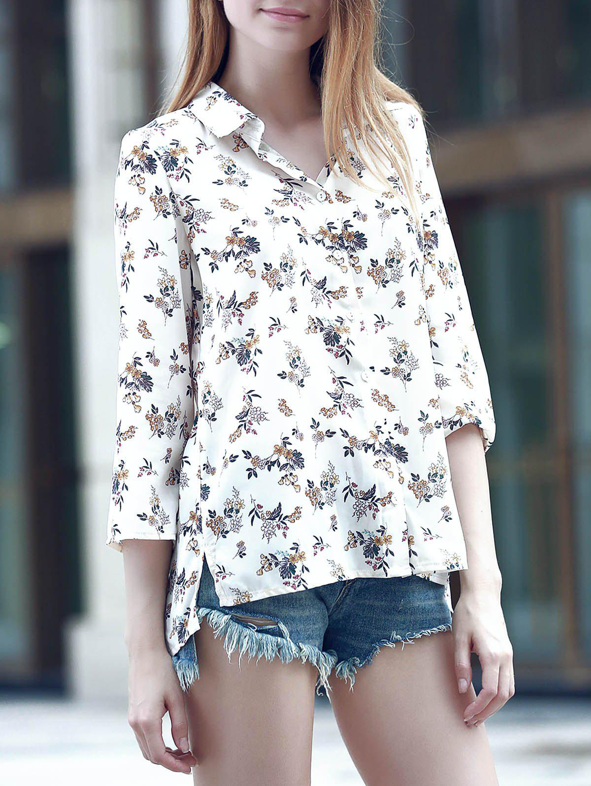 Sweet Women's Turn-Down Collar 3/4 Sleeve Flower Print Shirt - BEIGE 2XL