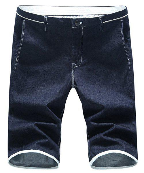 Zipper Fly Plus Size Solid Color Straight Leg Men's Denim Shorts