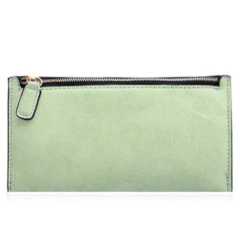 Simple Zip and Candy Color Design Women's Wallet - LIGHT GREEN