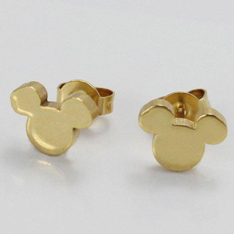 Pair of Chic Alloy Mouse Earrings For Women - GOLDEN