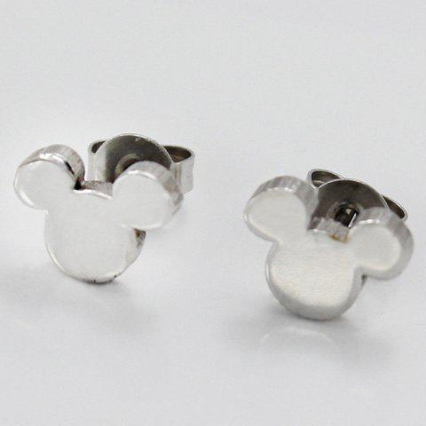 Pair of Chic Alloy Mouse Earrings Jewelry For Women - SILVER