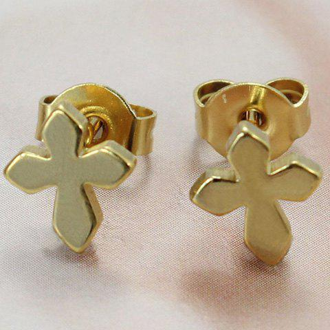 Pair of Cross Shape Earrings - GOLDEN