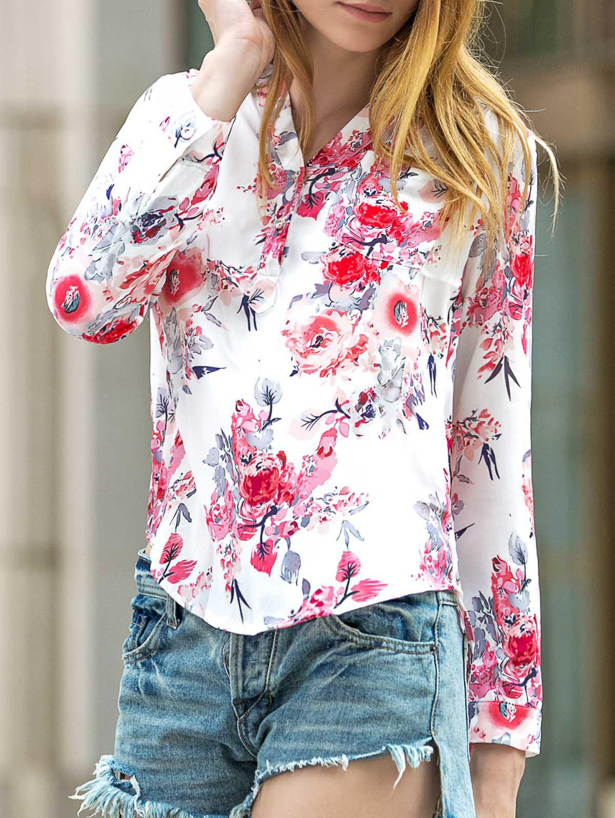 Long Sleeve Floral Printed V-Neck Shirt - WHITE XS