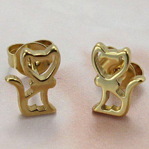 Pair of Chic Kitten Hollow Out Earrings For Women