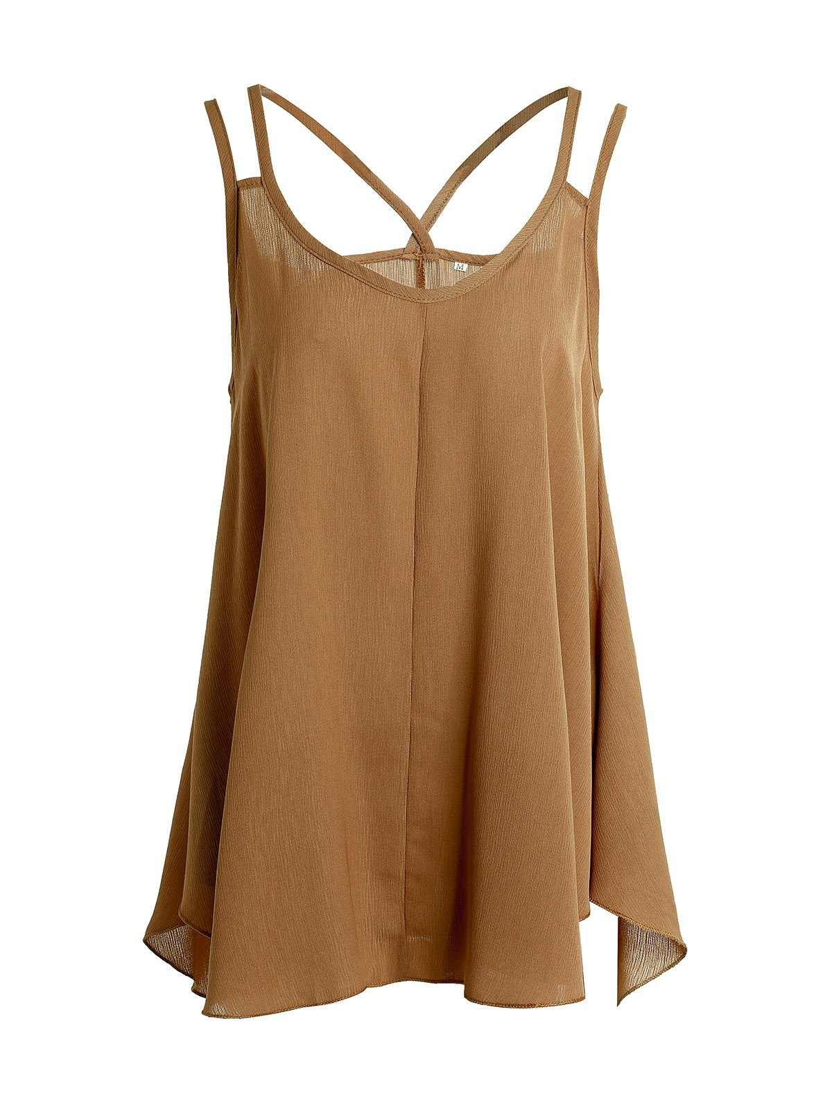 Fashionable Women's Strappy Asymmetrical Chiffon Tank Top - DARK KHAKI XL