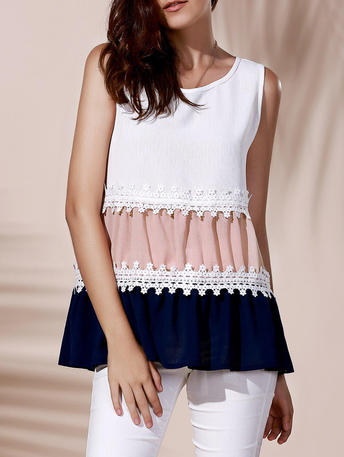 Fashionable Round Collar Color Block Lace Spliced Women's Tank Top - WHITE XL