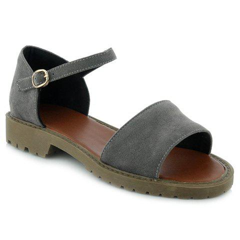Vintage Suede and Solid Color Design Women's Sandals - DEEP GRAY 38