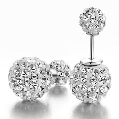 Pair of Double Ended Ball Rhinestoned Stud Earrings - SILVER
