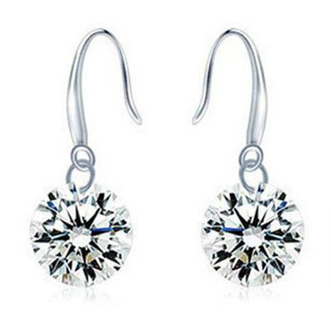Pair of Rhinestone Hook Earrings - SILVER