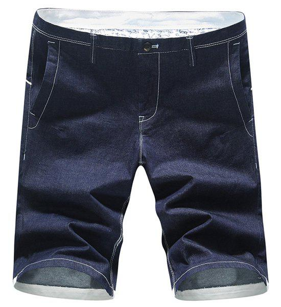Zipper Fly Plus Size Selvedge Embellished Solid Color Straight Leg Men's Denim Shorts - BLUE 29