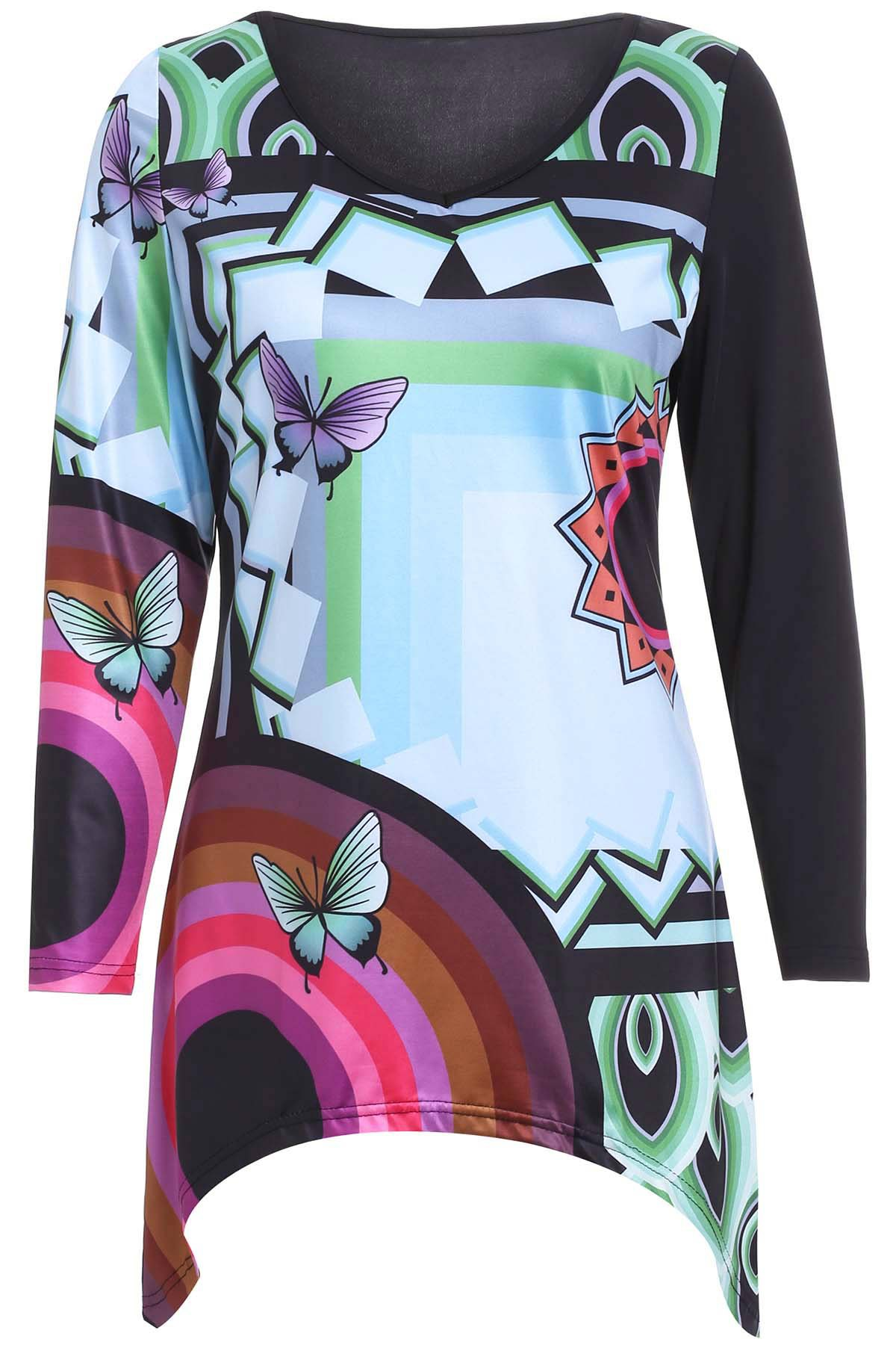 Casual Women's Butterfly Print Long Sleeves Blouse - BLACK XL