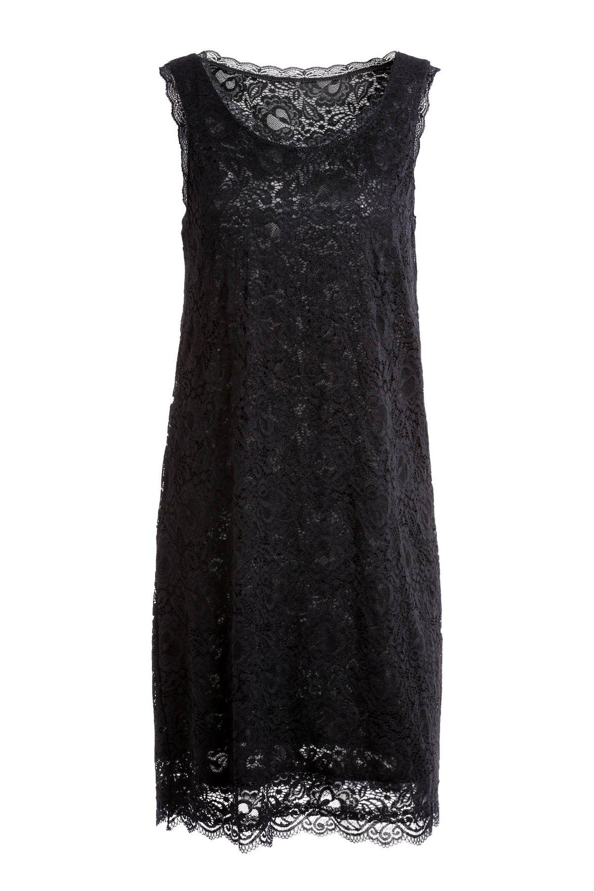 Fashionable Sleeveless Scoop Neck Pure Color Hollow Out Women's Dress - BLACK ONE SIZE(FIT SIZE XS TO M)
