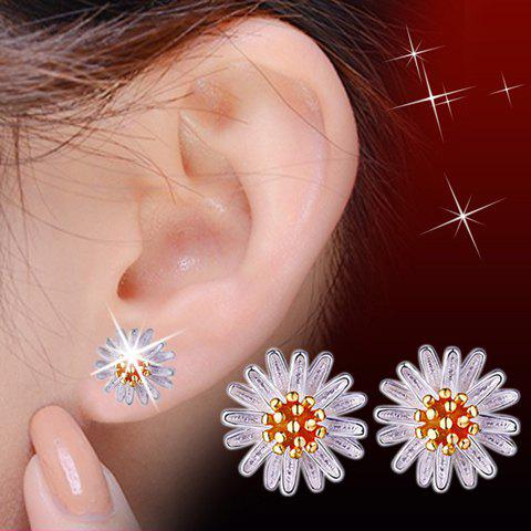 Pair of Stamens Flower Stud Earrings - GOLDEN
