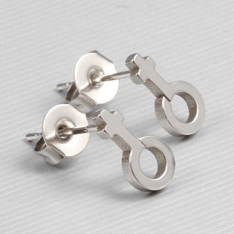 Pair of Lady Shaped Stud Earrings - SILVER