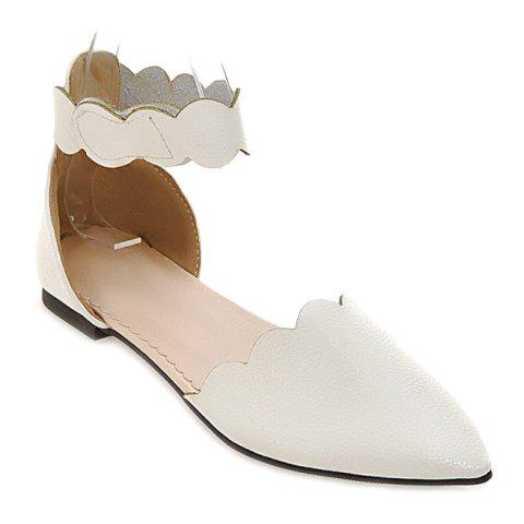 Simple Solid Color and Cut Out Design Women's Flat Shoes - WHITE 37
