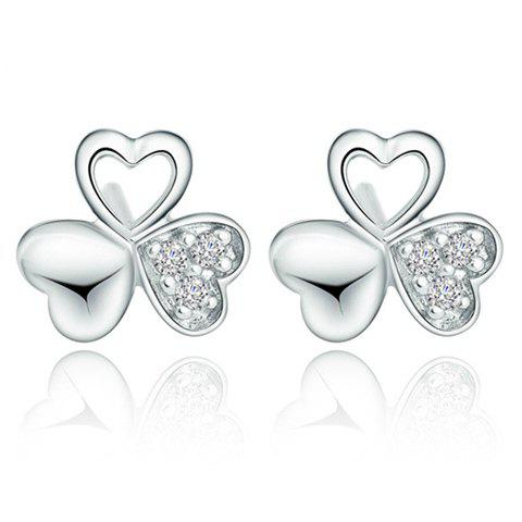 Pair of Elegant Rhinestone Clover Stud Earrings For Women