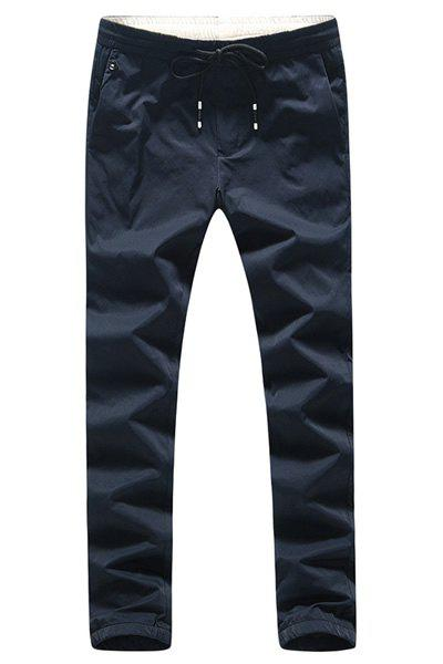 Lace-Up Beam Feet Simple Plus Size Men's Nine Minutes of Pants - BLUE 33