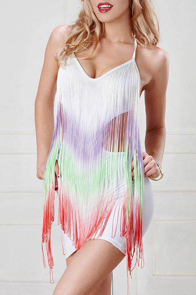 Sweet Halter Lace-Up Cut Out Fringe Women's Dress