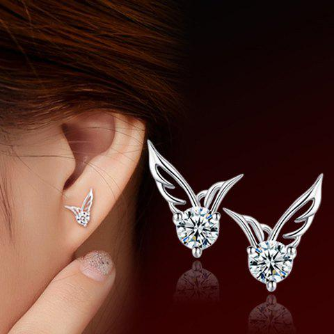 Pair of Angle Wings Rhinestone Stud Earrings square shaped stylish crystal zinc alloy stud earrings black bronze pair