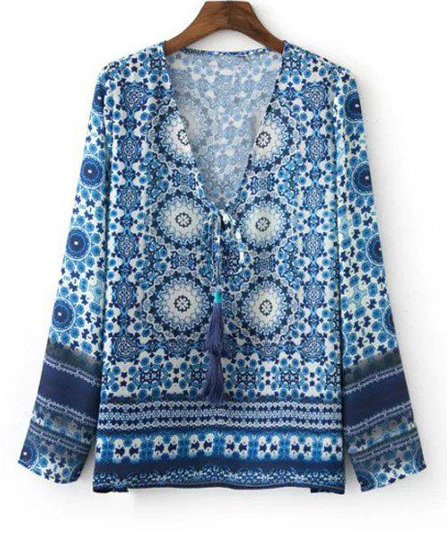 Ethnic Women's Tribal Print Long Sleeves Tied-Front Blouse - BLUE M