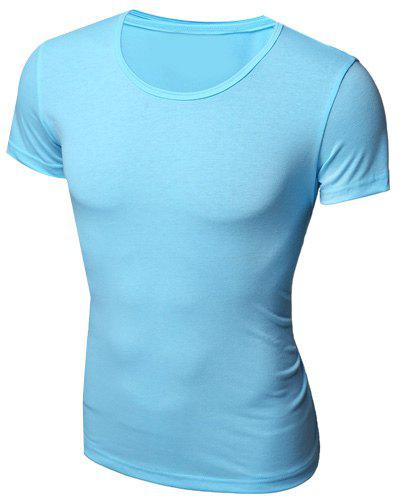 Simple Style Round Neck Solid Color Short Sleeve Men's T-Shirt - AZURE M