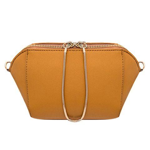 Casual Solid Color and Chain Design Women's Crossbody Bag - YELLOW