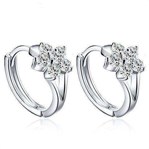 Pair of Elegant Rhinestoned Flower Hoop Earrings For Women - SILVER