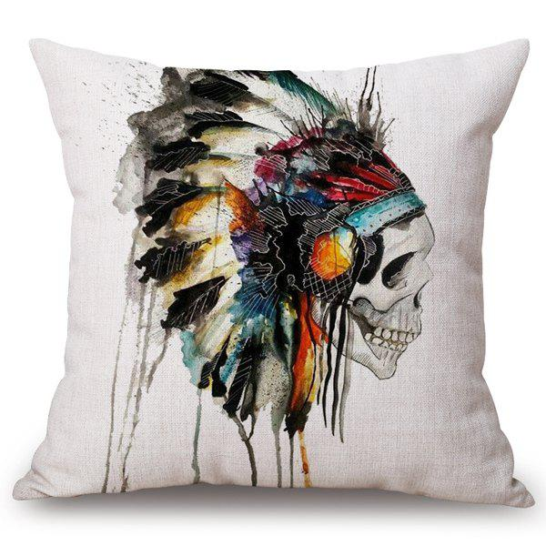 Chic Feather Crest Skull Watercolor Pattern Square Shape Flax Pillowcase (Without Pillow Inner)