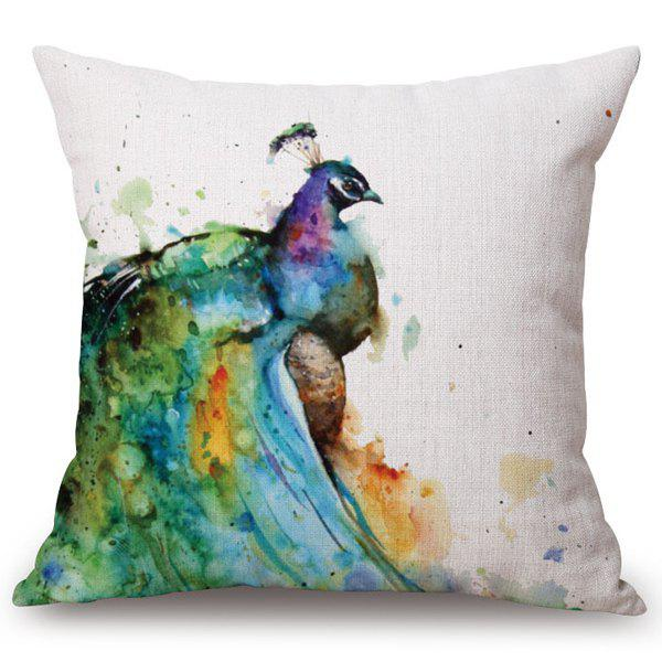 Chic Watercolor Peacocks Pattern Square Shape Flax Pillowcase (Without Pillow Inner) - COLORMIX