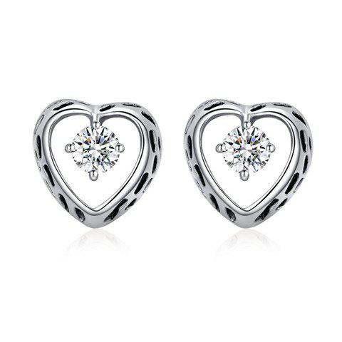 Pair of Sweet Rhinestone Heart Stud Earrings For Women - WHITE