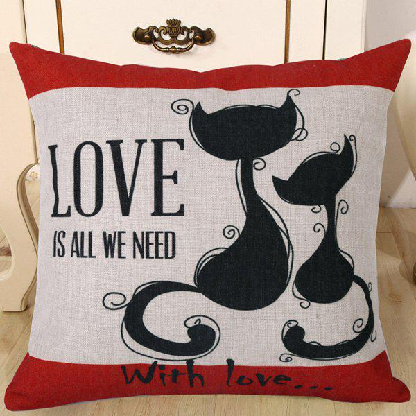 Chic Kitten Lovers Pattern Square Shape Flax Pillowcase (Without Pillow Inner) - RED