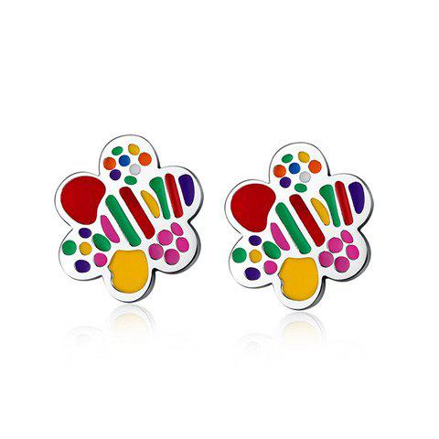 Pair of Stunning Colored Floral Earrings For Women - COLORMIX