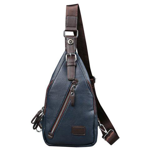 Leisure Buckle and Magnetic Closure Design Men's Messenger Bag - BLUE